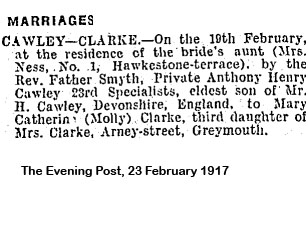 CAWLEY AH wedding notice