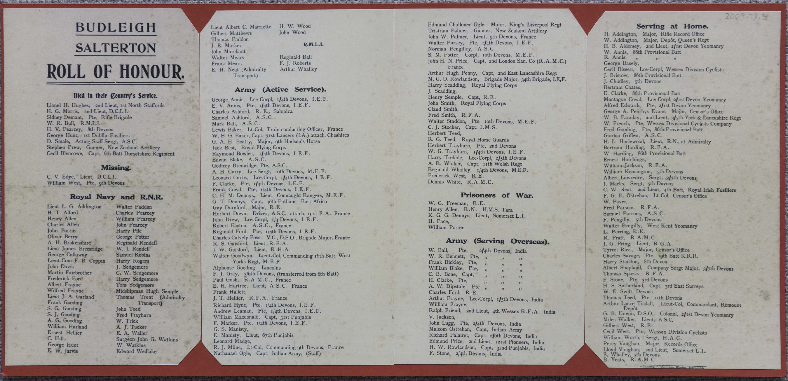 Budleigh Salterton's Roll of Honour